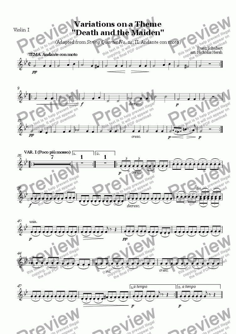 "page one of the Violin I part from Variations on a Theme ""Death and the Maiden"""