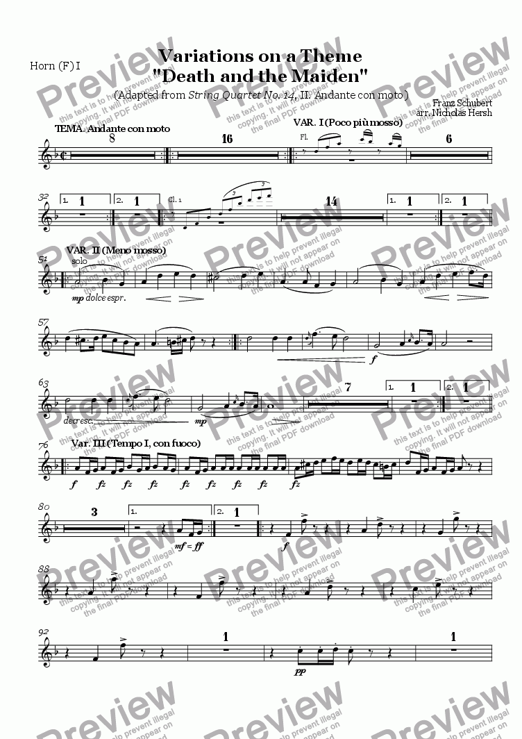 "page one of the Horn (F) I part from Variations on a Theme ""Death and the Maiden"""