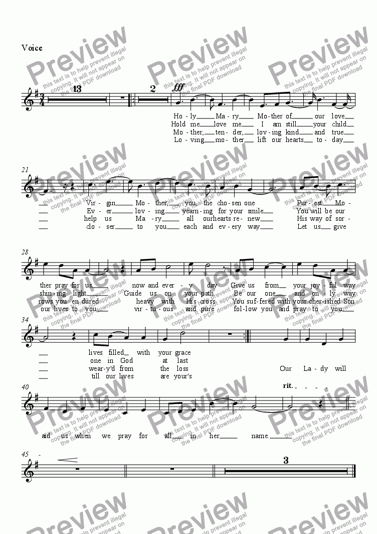 page one of the Voice part from Mother Mary
