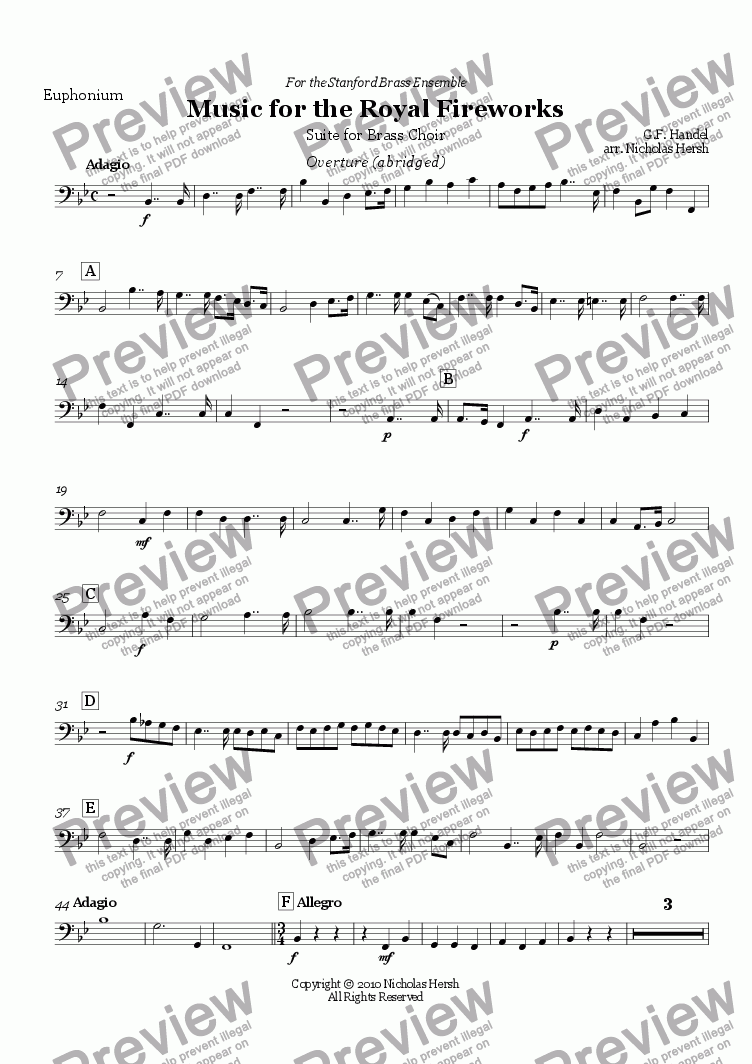 page one of the Euphonium part from Music for the Royal Fireworks