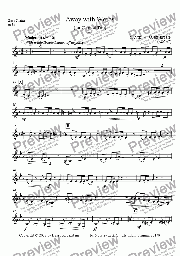 page one of the Bass Clarinet in Bb part from Away with Words (for Clarinet Trio)