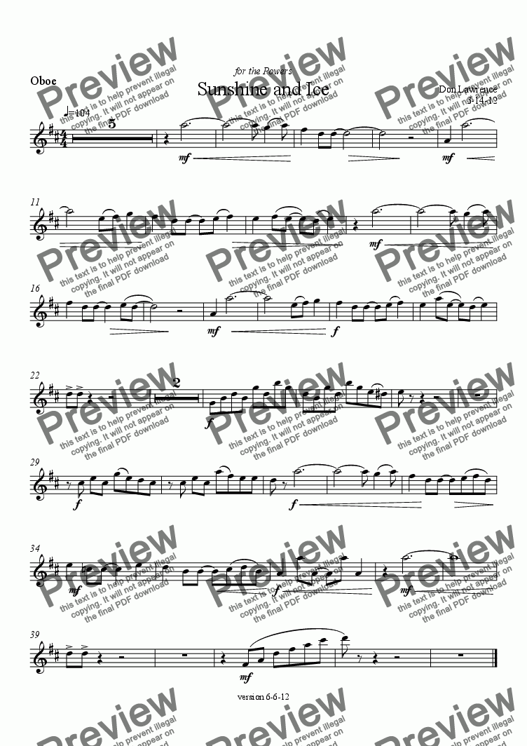 page one of the Oboe part from Power Suite (oboe, viola, horns, trombone): IV. Sunshine and Ice