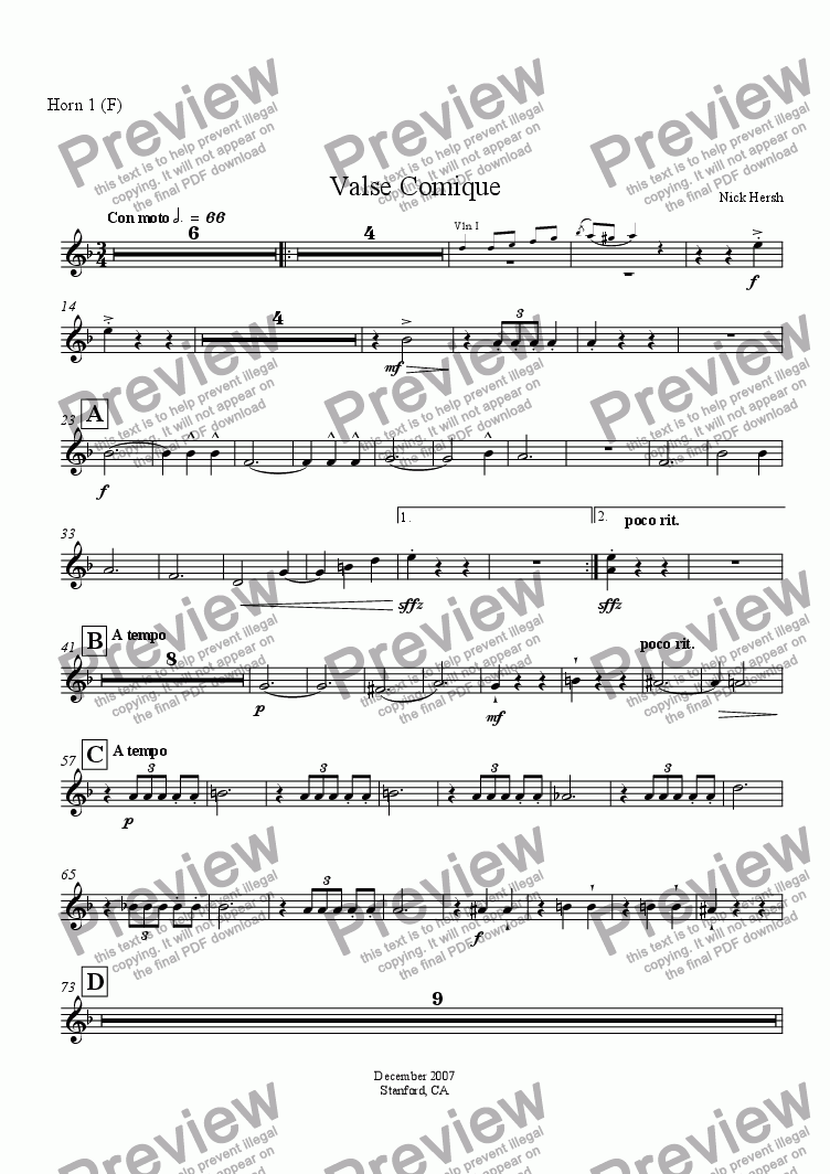 page one of the Horn 1 part from Valse Comique