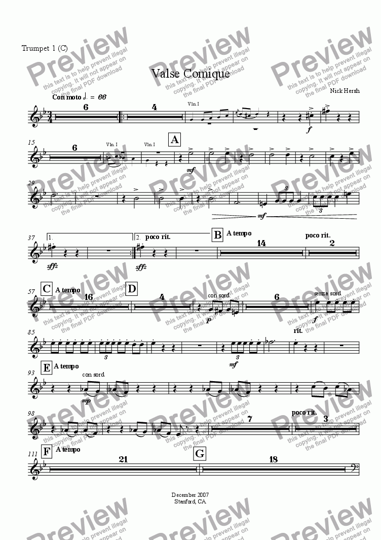 page one of the Trumpet 1 in C part from Valse Comique