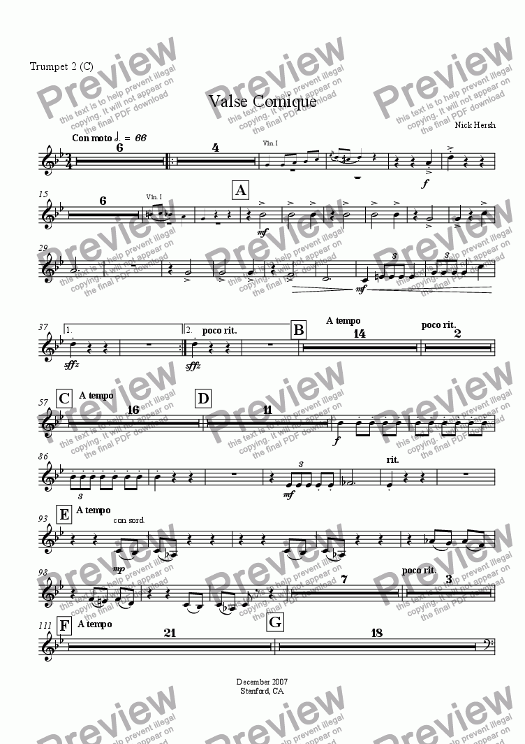 page one of the Trumpet 2 in C part from Valse Comique
