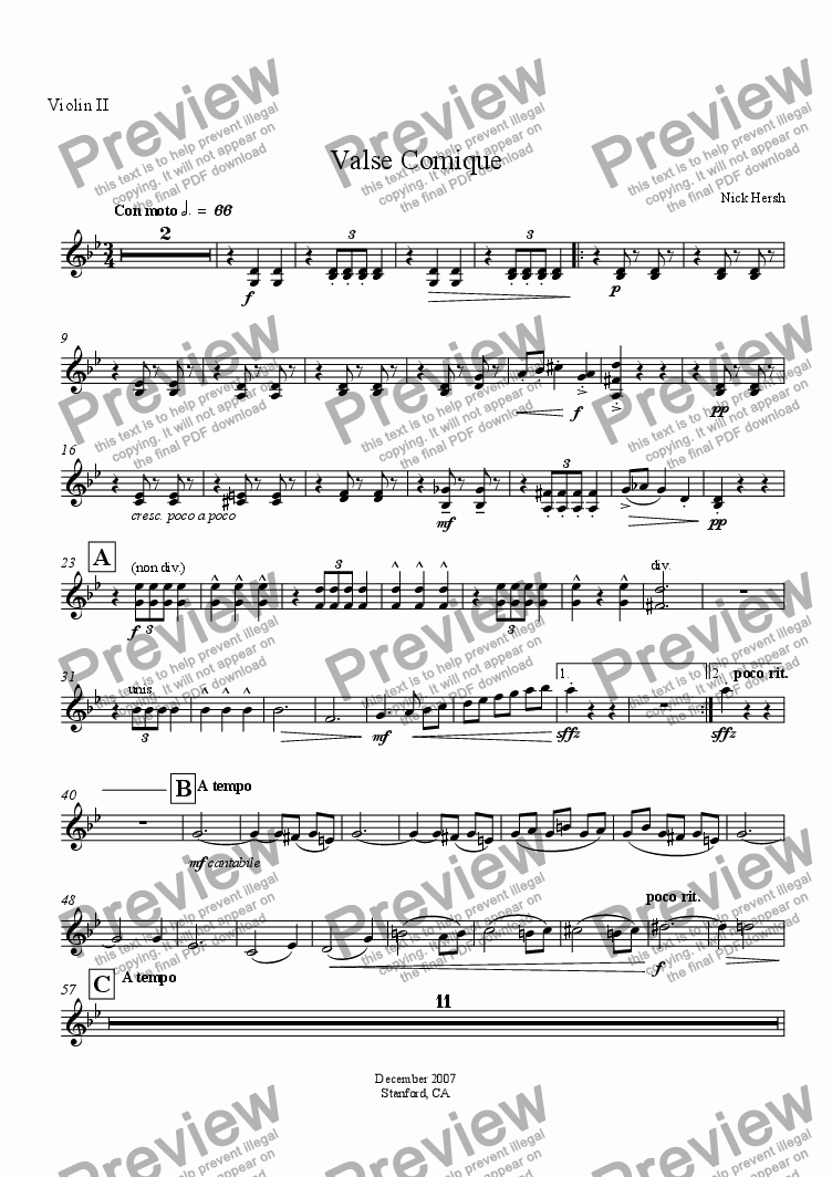 page one of the Violin II part from Valse Comique
