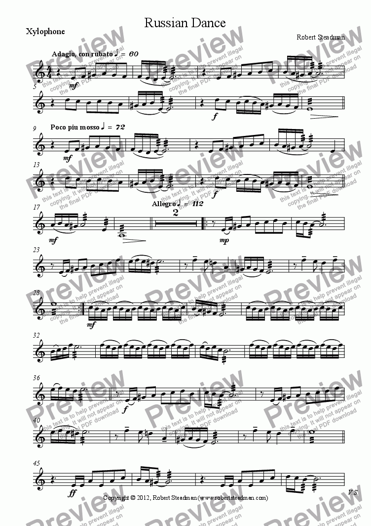 page one of the Xylophone part from Russian Dance