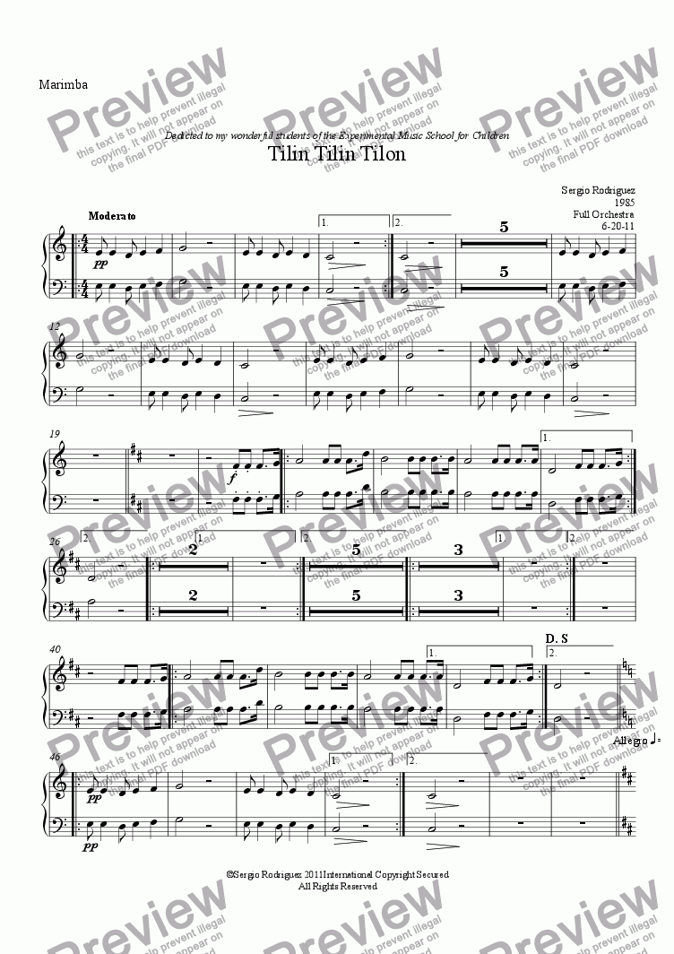 page one of the Marimba part from Tilin Tilin Tilon