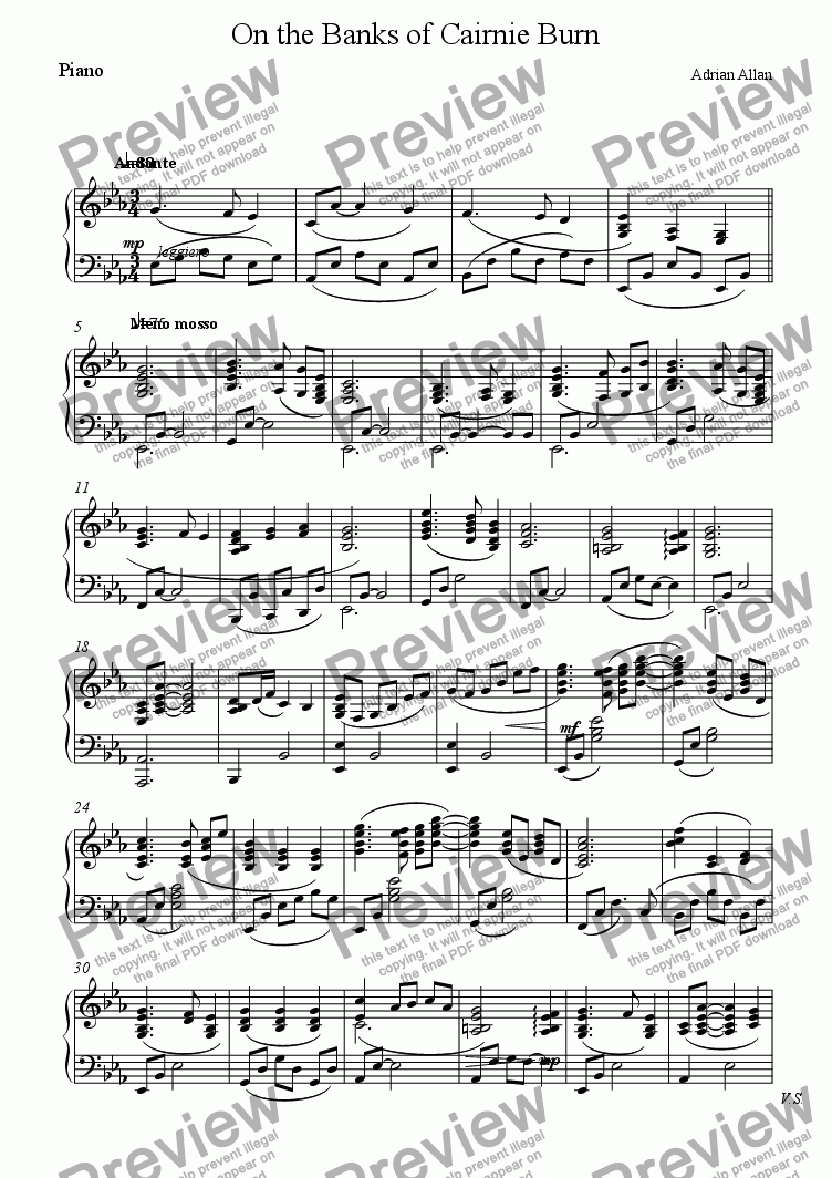 page one of the Piano part from On the Banks of Cairnie Burn