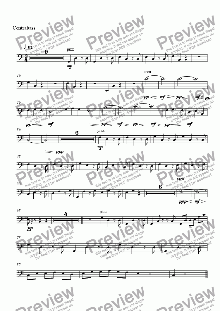 page one of the Contrabass part from À Toi de Moi