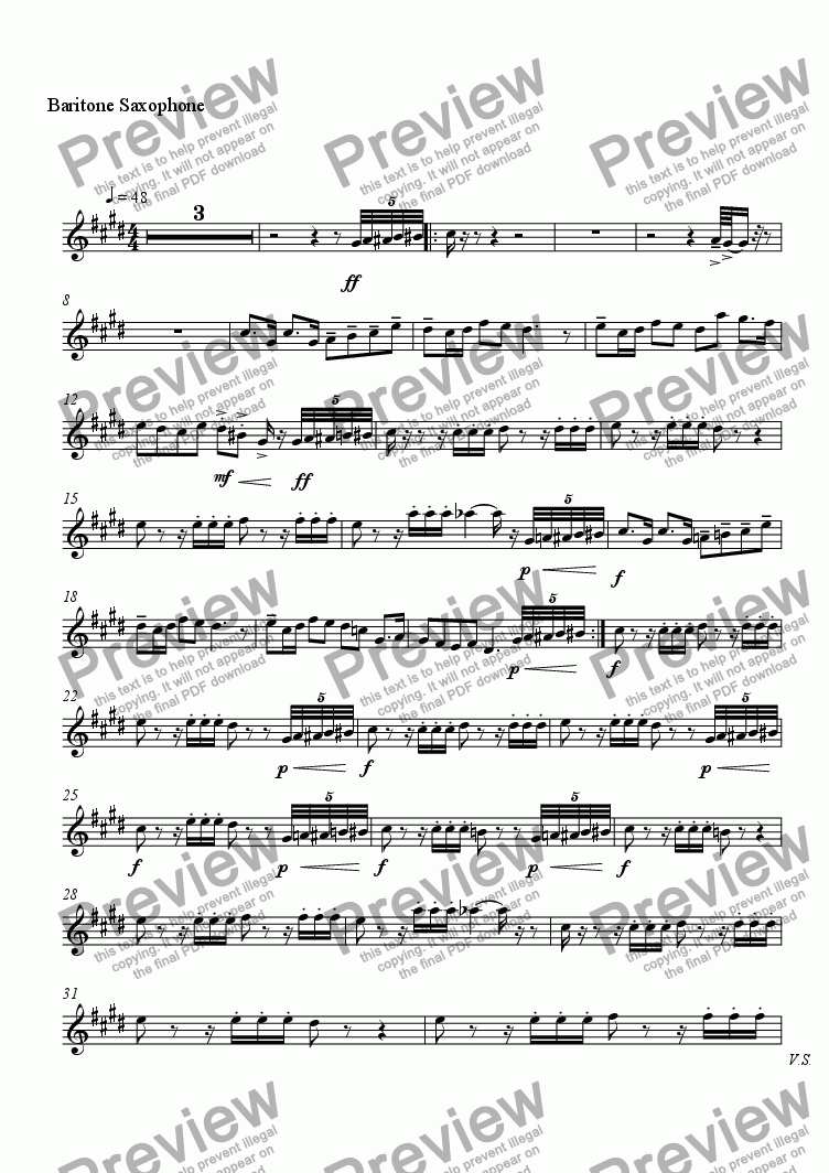 page one of the Baritone Saxophone part from Canard Grippé