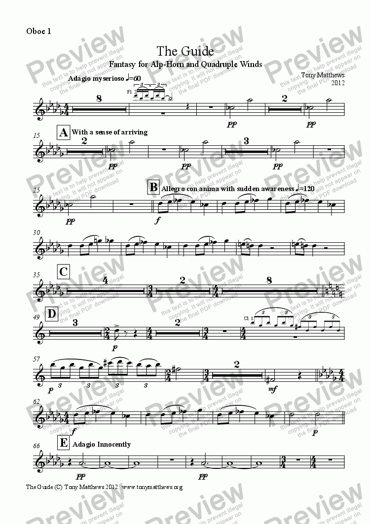 page one of the Oboe 1 part from The Guide
