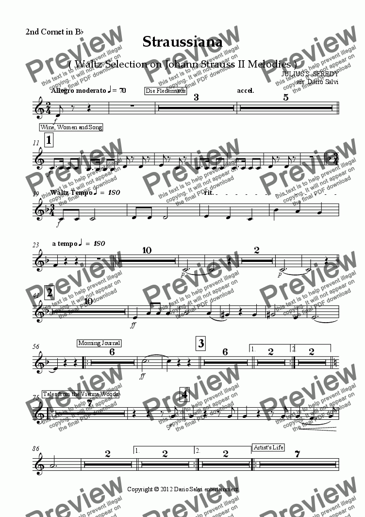 page one of the 2nd Cornet in B^b part from Straussiana ( Waltz Selection on Johann Strauss II Melodies )