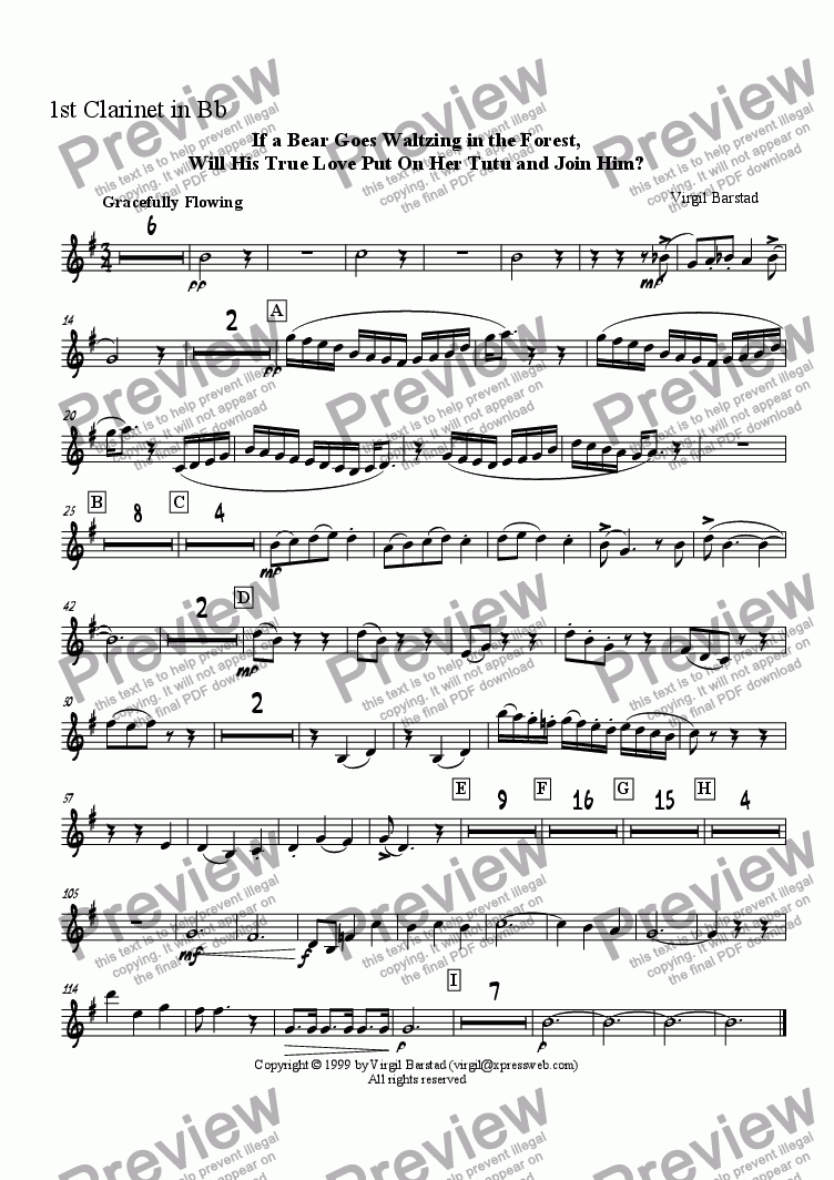 page one of the 1st Clarinet in B-flat part from If a Bear Goes Waltzing in the Forest, Will His True Love Put On Her Tutu and Join Him?