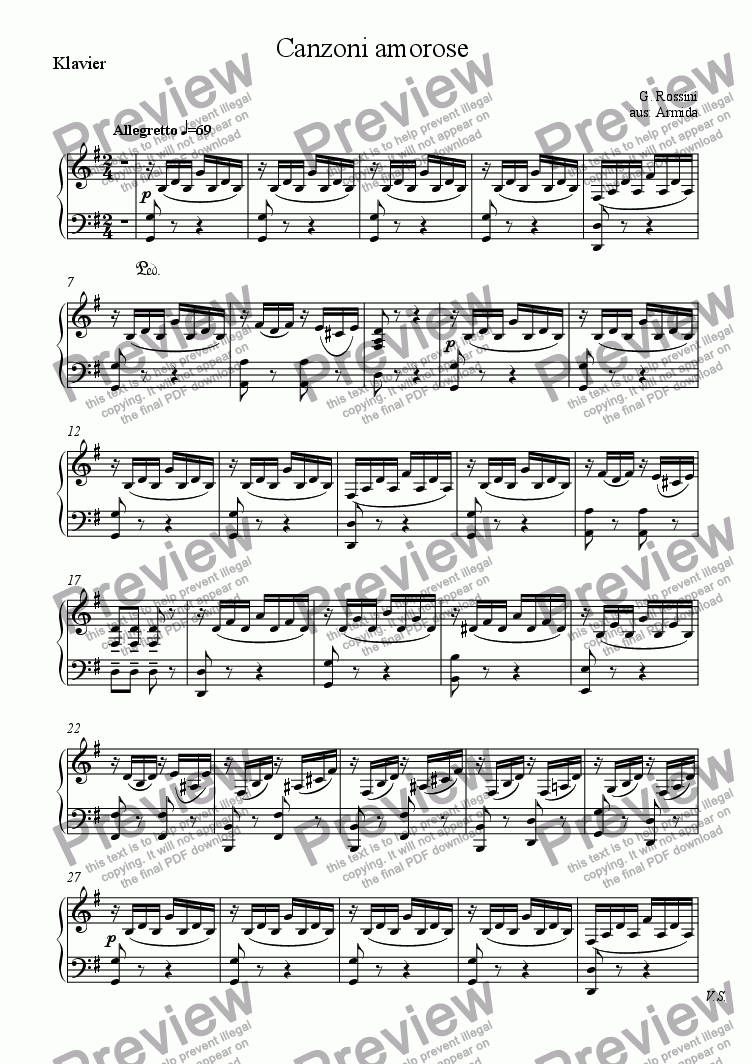 page one of the Klavier part from Rossini: Canzoni amorose