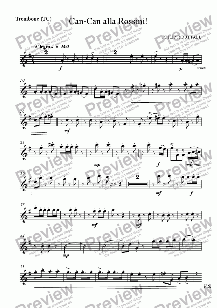 page one of the Trombone (TC) (special arr.) part from Can-Can alla Rossini! (Brass Quintet)