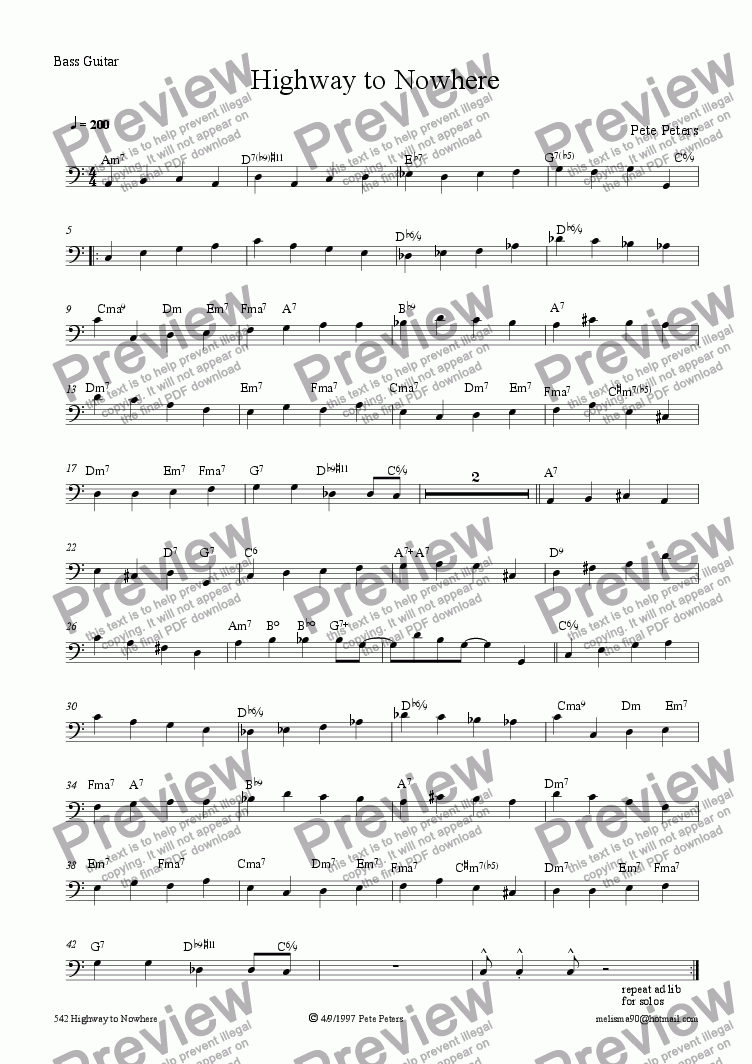 page one of the Bass part from Highway to Nowhere [Jazz 5pce]