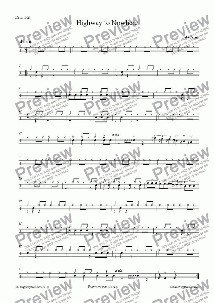 page one of the Drums part from Highway to Nowhere [Jazz 5pce]
