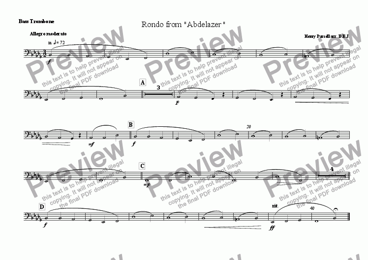 1 bass trombone part from rondo from abdelazer sheet music pdf file