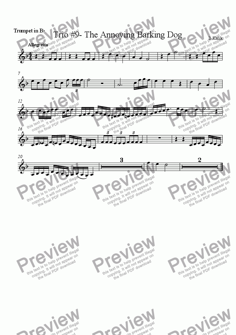 page one of the Trumpet in B^b part from Trio #9- The Annoying Barking Dog