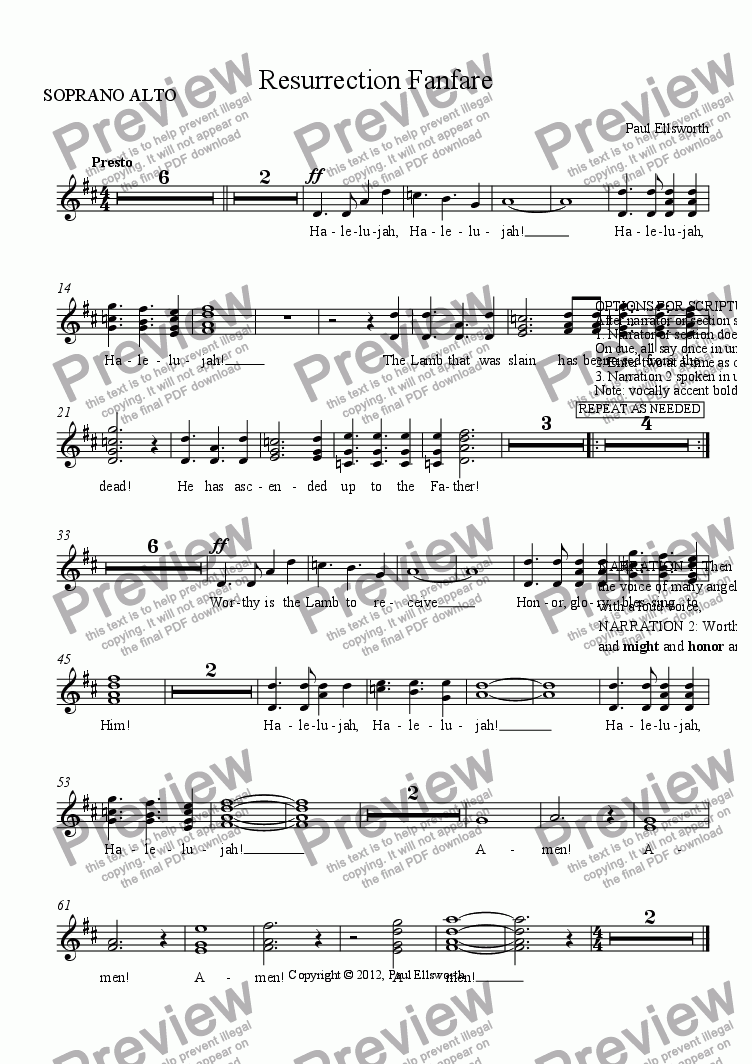 page one of the SOPRANO ALTO part from Resurrection Fanfare