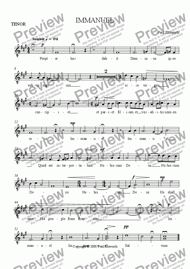 page one of the TENOR part from IMMANUEL