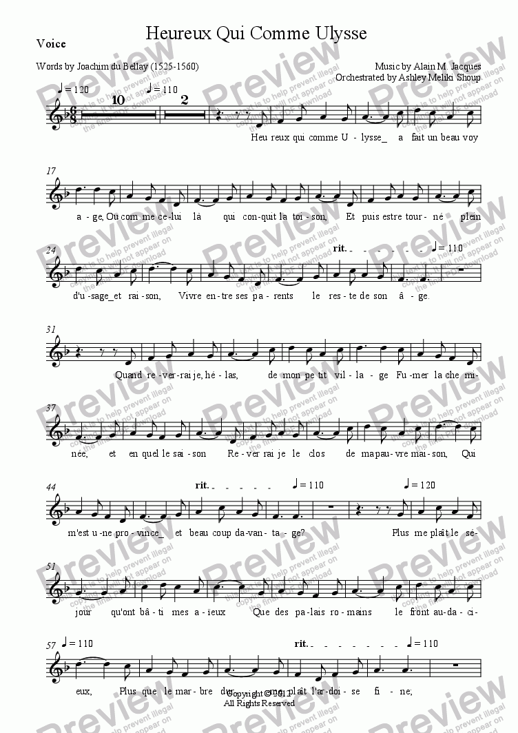 page one of the Voice part from Heureux Qui Comme Ulysse (A. Jacques / J. du Bellay)
