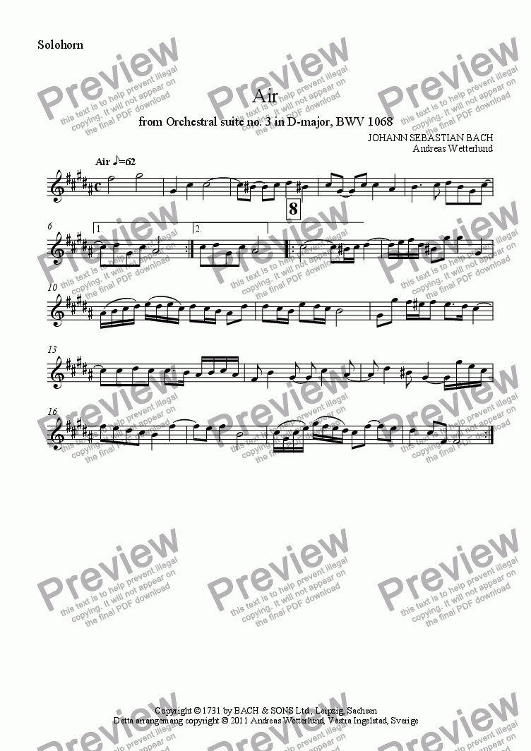 page one of the Solohorn part from BACH Air [Brass band]