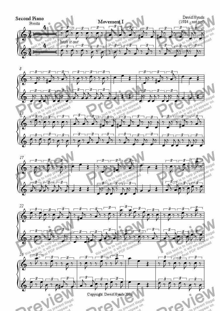 page one of the Piano II part from Suite for Two Steady Hands, Four Fast Fingers and Three Pianofortes - Movement I