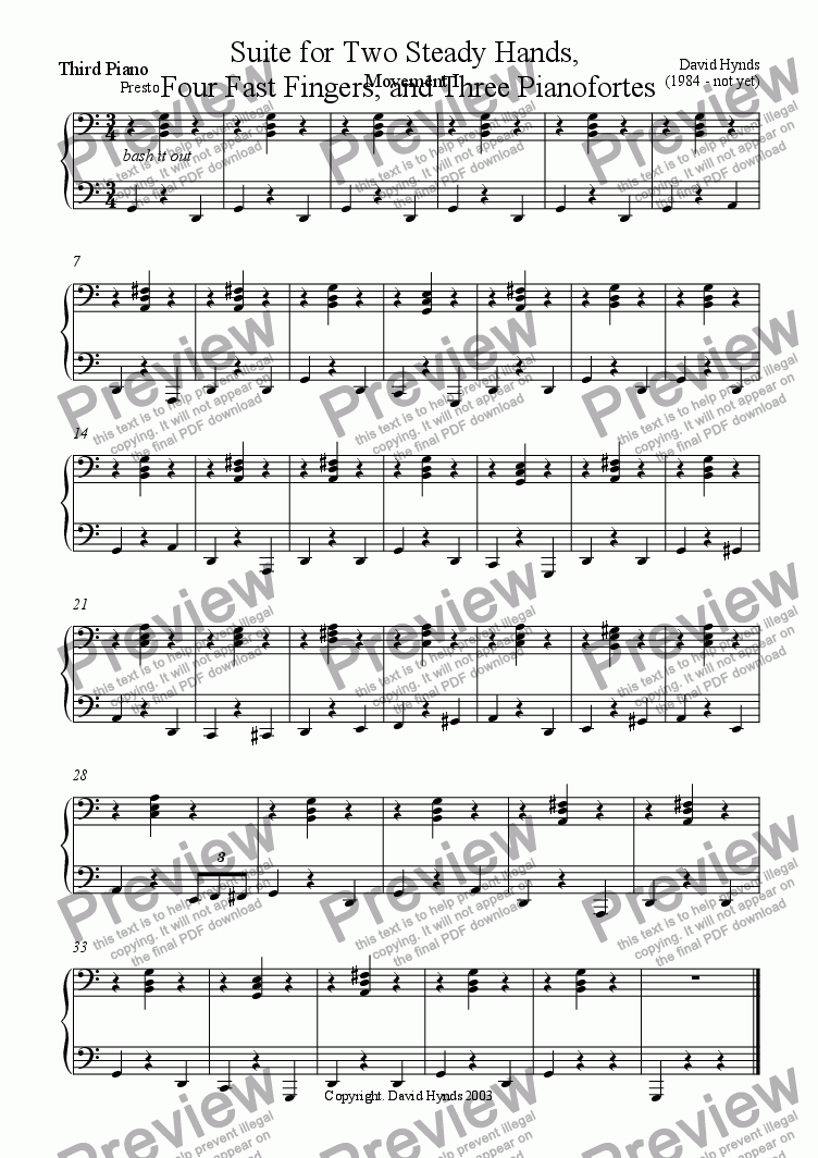page one of the Piano III part from Suite for Two Steady Hands, Four Fast Fingers and Three Pianofortes - Movement I