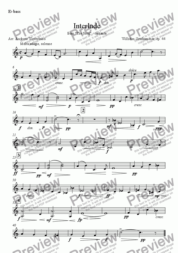 page one of the E^b bass part from STENHAMMAR Interlude [Brass band]