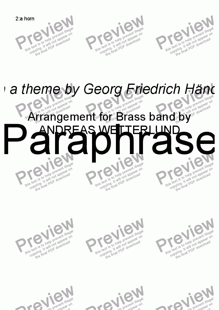 page one of the 2:a horn part from GUILMANT Paraphrase [Brass band]