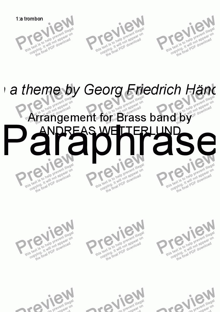 page one of the 1:a trombon part from GUILMANT Paraphrase [Brass band]