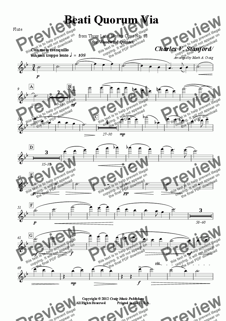 page one of the Flute part from Stanford: Beati Quorum Via  from Three Latin Motets Opus No. 38