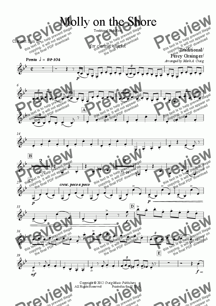 page one of the Clarinet II in Bb part from Grainger: Molly on the Shore - for CQ