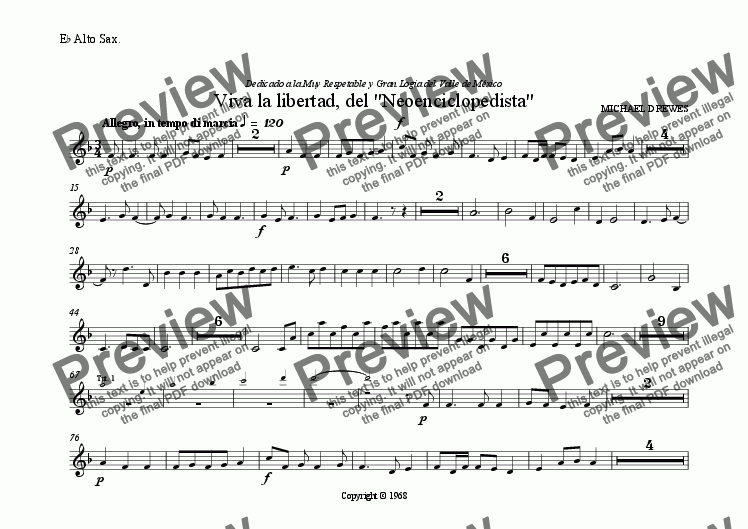 "page one of the E^b Alto Sax. part from Viva la libertad, del ""Neoenciclopedista"""