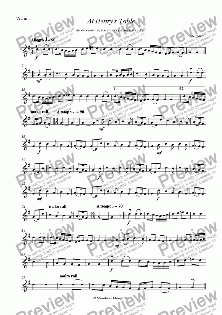 page one of the Violin I part from At Henry's Table