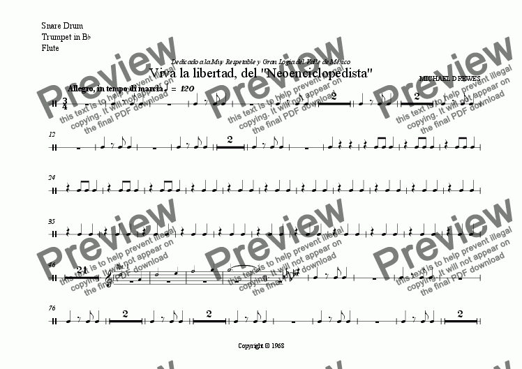 "page one of the Snare Drum, Trumpet in B^b, Flute part from Viva la libertad, del ""Neoenciclopedista"""