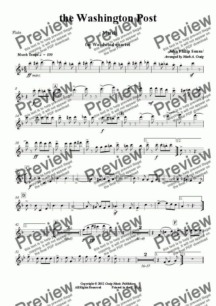 page one of the Flute part from Sousa: The Washington Post March - WWQrt