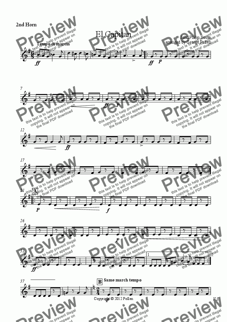 page one of the 2nd Horn part from El Capitan (ME)