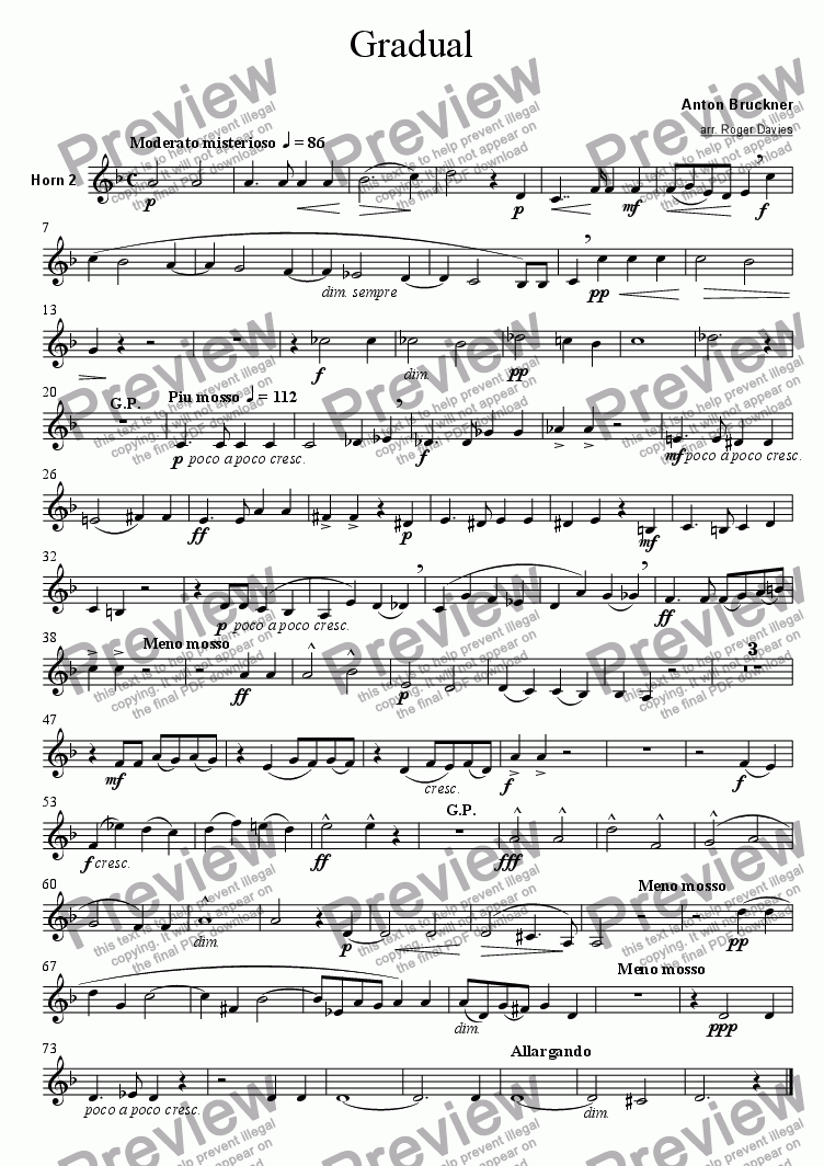 page one of the Horn 2 part from Gradual