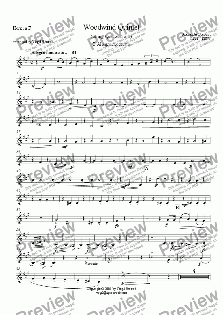 page one of the Horn in F part from Borodin Wind Quintet - 1
