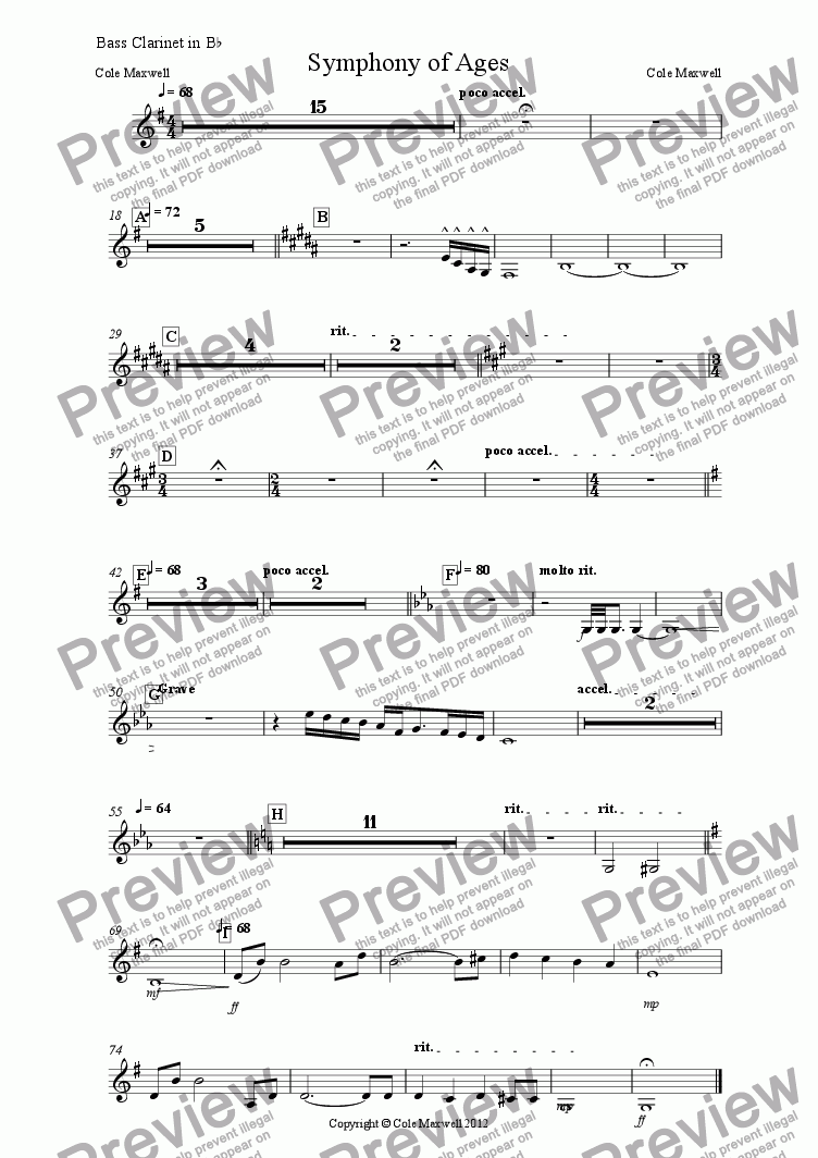 page one of the Bass Clarinet in B^b part from Symphony of Ages
