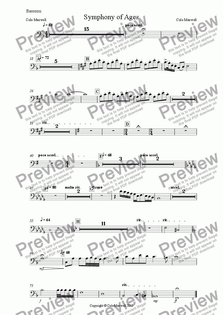 page one of the Bassoon part from Symphony of Ages
