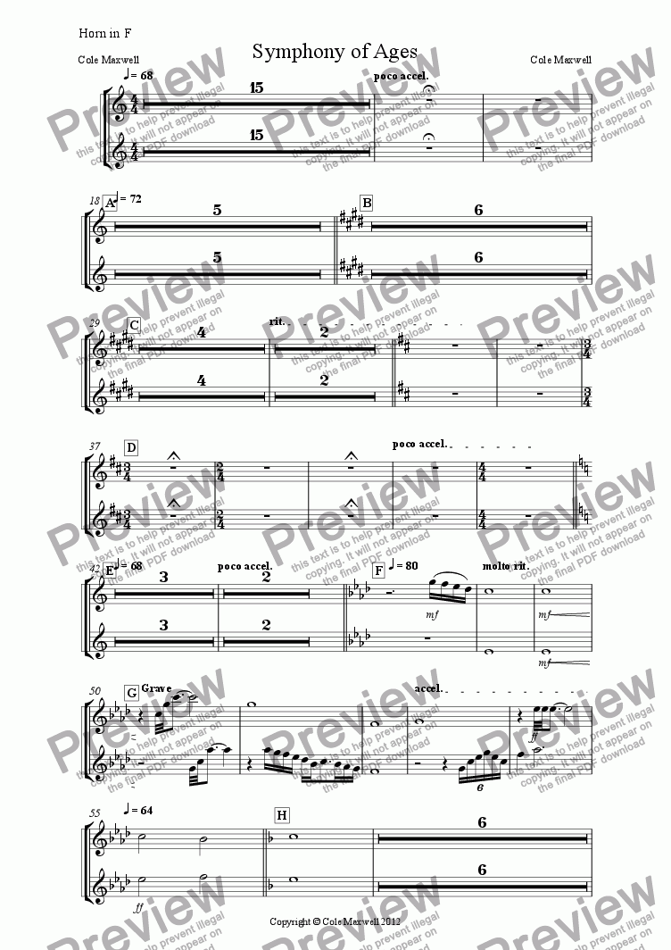 page one of the Horn in F part from Symphony of Ages