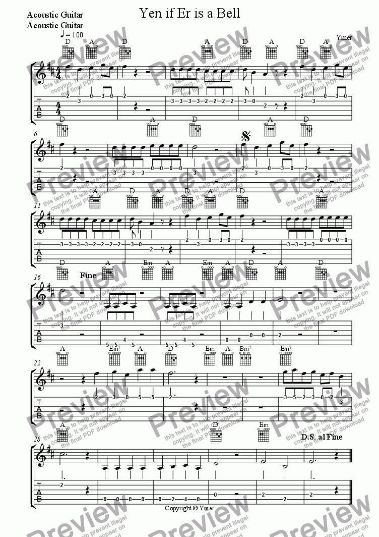 page one of the Acoustic Guitar, Acoustic Guitar part from Yen if Er is a Bell