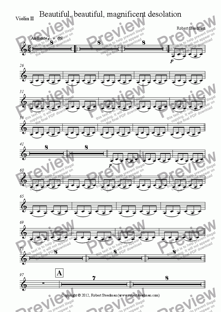 page one of the Violin II part from Beautiful, beautiful, magnificent desolation