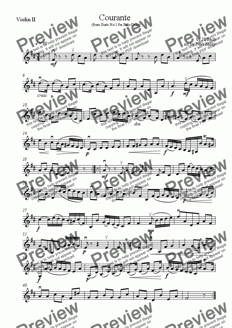 page one of the Violin II part from Courante (from Suite No.1 for Solo Cello)