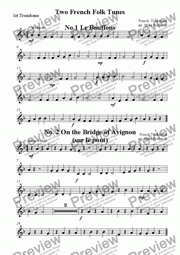 page one of the 1st Trombone part from Two French Folk Tunes  No.1 Le Bouffons