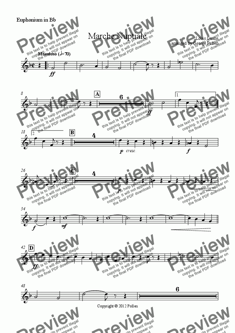 page one of the Euphonium in Bb part from Marche Nuptiale (CB)